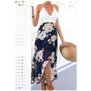 Dresses & Skirts - Crochet Top Floral Hi Low Dress boho festival